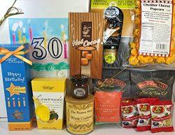 Happy 30th Birthday Gift Box Basket – Send Gourmet Coffees, Teas, Pretzels, Mustard, Fudge ...