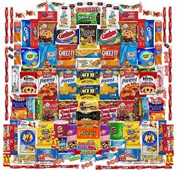 Deluxe 130 Count Snack Assortment Includes Chips, Cookies, Crackers, Bars, and Candies