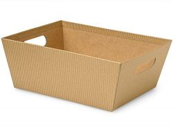 Pack of 3, Kraft Pinstripe X-Large Wide Base Market Trays 9.5 x 12″ x 4.5″ Made From ...