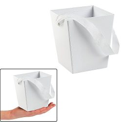 WHITE CARDBOARD BUCKET WITH RIBBON HANDLE (6 PIECES)