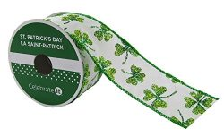 St. Patrick's Day Taffeta Wired Shamrock Ribbon with Wired Edge 1.5″ x 9′