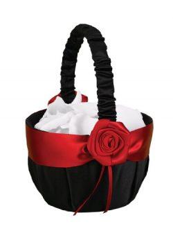 Hortense B. Hewitt Wedding Accessories Midnight Rose Flower Basket, 8-Inch Tall