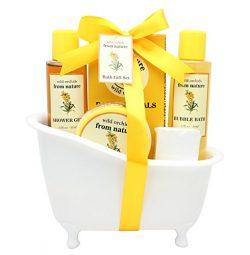 Spa Bath Gift Set Basket – Luscious Body Lotion, Shower Gel, Bubble Bath, Bath Crystals, B ...
