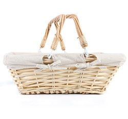 MEIEM Easter Basket Gift Basket Wicker Woven Picnic Basket with Double Folding Handles Rectangul ...