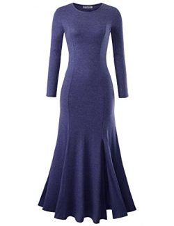 NEARKIN NKNKWLD18 Womens Round Neck Trendy Slit Design Mermaid Maxi Dress Navy US L(Tag Size XL)