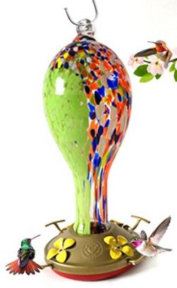 Grateful Gnome Hummingbird Feeder – Hand Blown Glass – Wildflower Tower – 30 F ...