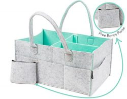 Mezacha Baby Diaper Caddy Organizer PLUS FREE PURSE – Baby Shower Gift Basket | Nursery St ...