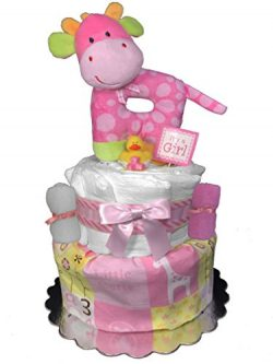 Giraffe Diaper Cake Gift Set for a Girl – Baby Shower Gift Idea – 2-Tier Centerpiece ...