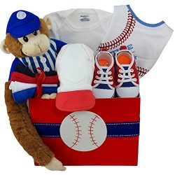 American All Star Baby Boy Baseball Gift Basket with Teddy Bear