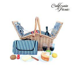 Picnic Basket Set – 2 Person Picnic Hamper Set Double Lid – Golden Collection -Water ...