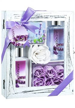 Lavender Relaxing Aromatherapy Spa Bath Skincare Gift Set with Body Lotion, Shower Gel, bath Sal ...