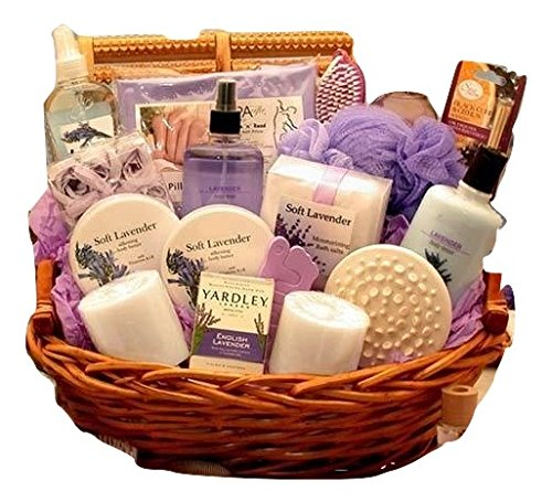 Lavender Ultimate Spa Gift Basket By Broadwaybasketeers Com: Calming Lavender Bath And Body Gift Basket For Her