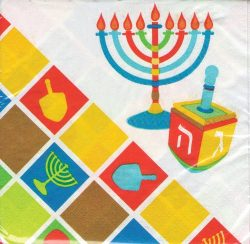 Chanukah Luncheon Paper Napkins , Disposable Napkins , Decorated with Hanukkah Dreidels –  ...