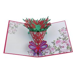 Mother's Day Card, Rose Bouquet Pop Up Card, 3D Greeting Card, Thanks Card, Birthday Card, ...