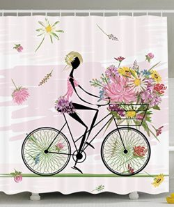 Ambesonne Girl Riding a Bike with Watercolor Daisy Flowers Basket, Polyester Fabric Bathroom Sho ...
