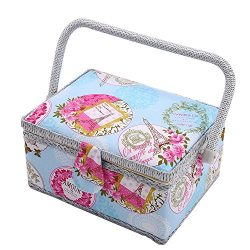 SAXTX Medium Romantic Sewing Basket with 129Pcs Sewing Kit Accessories for Women | Quilting Embr ...