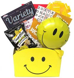 Get Well Gift Basket for Adults: Puzzles and Smiles Gift Box with Puzzle Books has Unisex Design ...