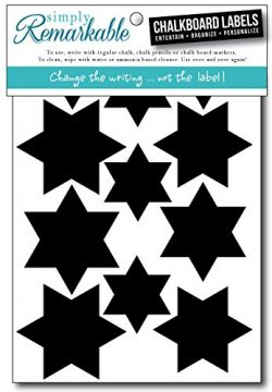 Simply Remarkable Reusable Chalk Labels – 32 Star Shape Adhesive Chalkboard Stickers, Ligh ...