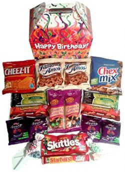 Happy Birthday Care Package features fun birthday candles graphic Gift Box stuffed with savory s ...