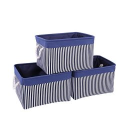 TcaFmac Large Fabric Storage Basket Bin|3-Pack|Collapsible Canvas Toy Storage Organizer Set with ...