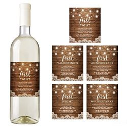 Rustic Wine Bottle Labels for a Wedding Gift, Wedding Milestones, Wedding Firsts, Bridal Shower Gift
