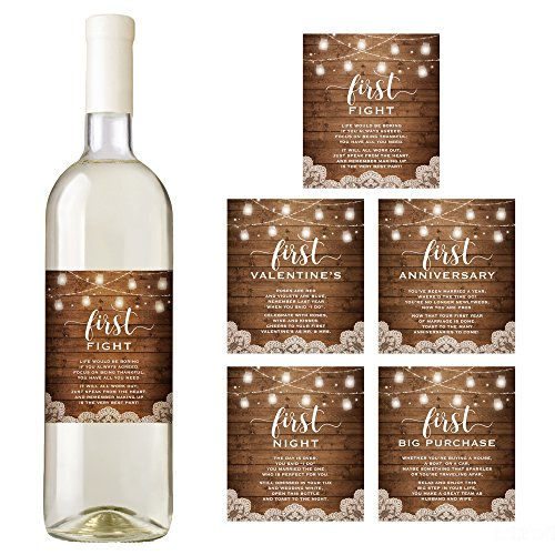 Wedding Milestone Wine Labels A Year Of Firsts Wine: Rustic Wine Bottle Labels For A Wedding Gift, Wedding