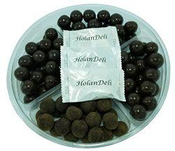 Assorted Dark Chocolate Caramel Gift Basket Tray. Tiramisu Caramels, Coconut Milk Caramels, Sea  ...