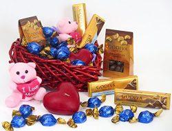 Mother's Day basket Godiva chocolate gift. Includes godiva milk chocate truffles, 2 think  ...
