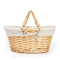 MEIEM Easter Basket Gift Basket Oval Willow Basket with Double Drop Down Handles Wicker Woven Pi ...