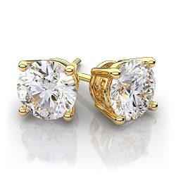 Gold Plated Round Surgical Steel Basket Set Cz Diamond Unisex Mens Stud Earrings In 4-9MM In Gif ...