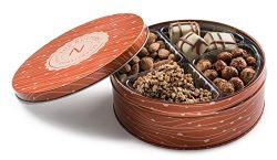 Premium Quality 4 Section Nuts and Chocolate Gift Tin Includes Healthy Food Snacks of Fresh Roas ...