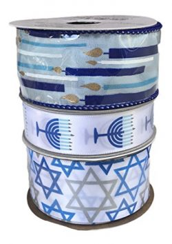 Candle Sticks Menorahs and Star of David Bundle of Three Festive Hanukkah Themed Ribbons