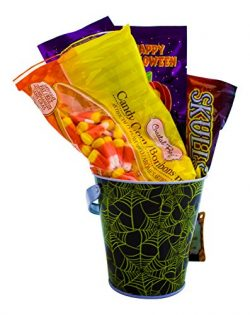 Halloween Candy Gift Basket – Includes Candy Corn, Skull and Bones Candy, Popping Candy an ...
