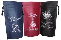 Wine Gift Bags, Holiday Gift Bags, Pack of 3 Single Bottle Drawstring, Wine Bottle Gift Bags, No ...