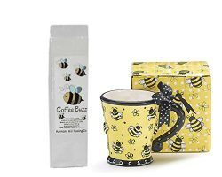 Bees Coffee Mug and Coffee Gift Set – Raised Bees Design Mug Cup with Bumblebees Coffee Bu ...
