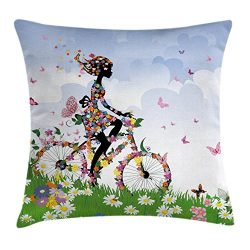 Ambesonne Outdoor Throw Pillow Cushion Cover, Woman Riding Vintage Romantic Bike with Spring Tim ...