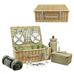 HappyPicnic Picnic Basket for 4, Nature Wicker Picnic Hamper,Willow Picnic Set with Wine Bag, Co ...