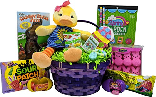 Easter Gift Basket for Girls with 11″ Duck Plush, Candy & Toys – for Girls ages  ...