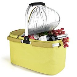 Insulated Picnic Basket Cooler Bag 22L for Camping BBQ Outdoor Sports