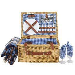 Nova Microdermabrasion Picnic Basket for 2 Person Wicker Hamper set with Tableware & Waterpr ...