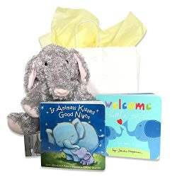 If Animals Kissed Goodnight, Welcome Little One & Stuffed Elephant Baby Gift Set | Perfect B ...