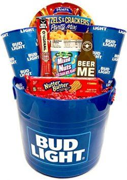 Gift Baskets for Men – Large Beer Bucket Filled With Beer Glasses, Nuts, Pretzels, Jerky + ...
