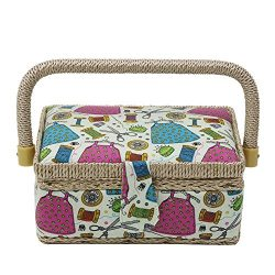 D&D Small Sewing Basket with Sewing Kit Accessories, Wooden Sewing Box Organizer with Mini S ...