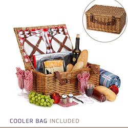 Picnic Basket For 4 – 29 Piece Kit Includes Wicker Basket with Stainless Steel Flatware, C ...