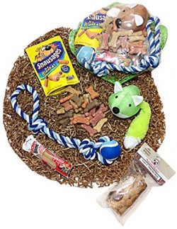 Distinctive Designs Deluxe Dog Gift Basket of Biscuits, Buffalo Bone, Chewy Dog Treats, Denta-Bo ...