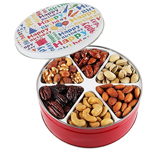 Happy Birthday Nuts Gift Basket Tin Six Sectional Filled With Assorted Freshly Roasted Abou