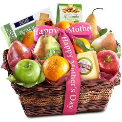 Golden State Fruit Happy Mothers Day Fruit Basket with Cheese and Nuts