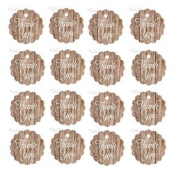 Thank You Small Wood Grain Kraft White Lace Vintage Printed Gift Favor Tags 1-3/4″ – ...