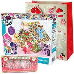 My Little Pony Gingerbread House Kit Pre-baked + Pack of 30 Mini Peppermint Candy Cane + Holiday ...