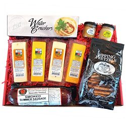 Specialty Gift Basket – features Smoked Summer Sausages, 100% Wisconsin Cheeses, Crackers, ...